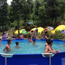 The youth had fun swimming and sleeping in tents.